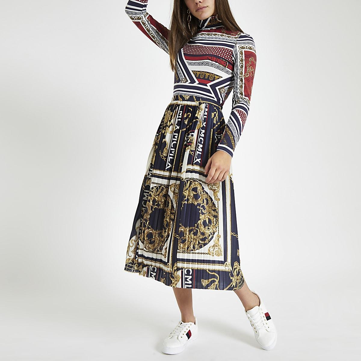 Petite navy scarf print pleated skirt