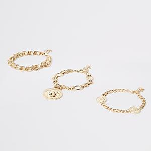 Goldenes Armband mit Löwenkopf, Set