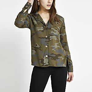 RI petite - Kaki overhemd met camouflageprint en lange mouwen