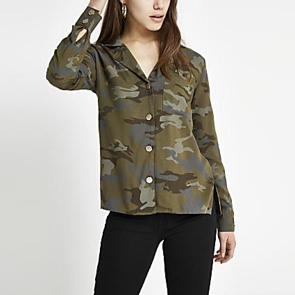 Petite Khaki camo long sleeve shirt