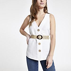 Petite – Top en lin blanc à ceinture