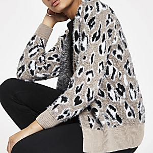 Grey leopard print fluffy knit cardigan