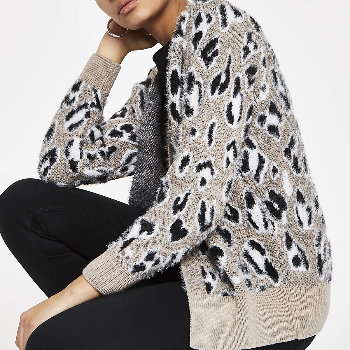 Grey leopard print fluffy knit cardigan