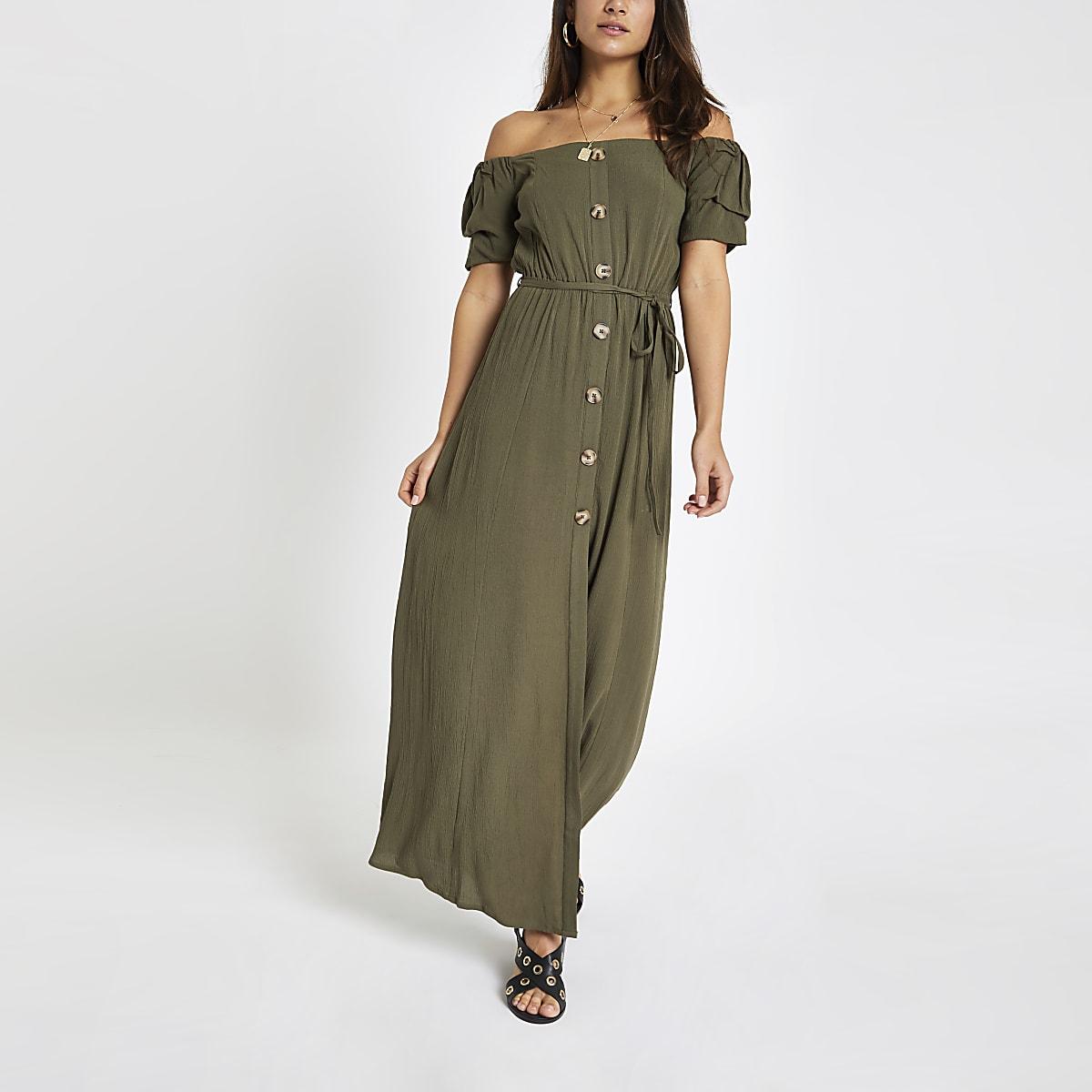 Petite khaki button front bardot maxi dress