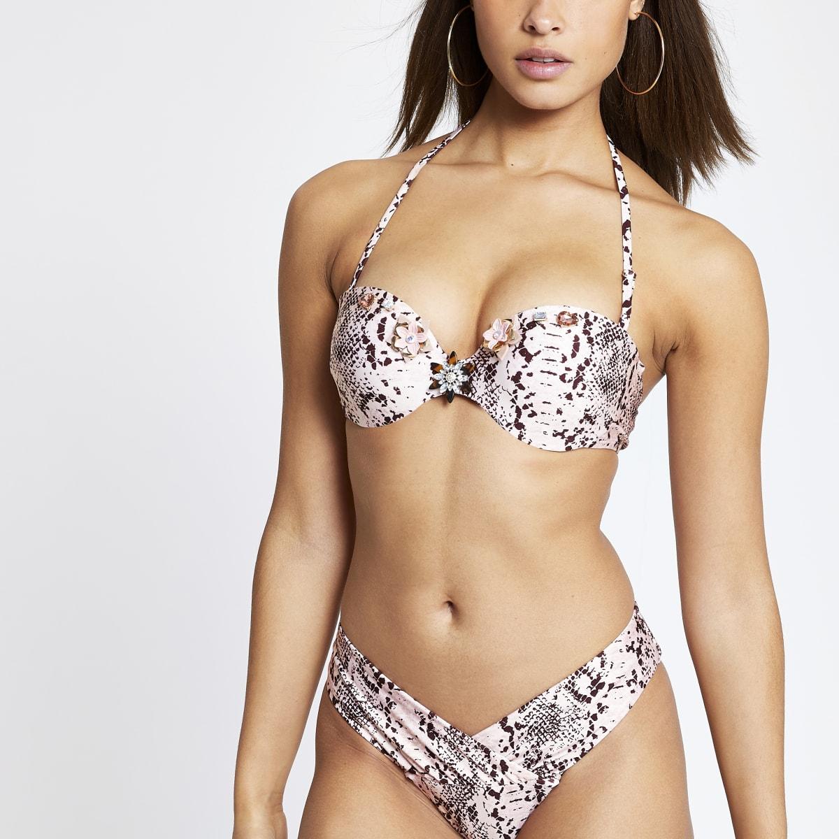 Pink snake print jewel balconette bikini top