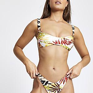 Crème cami bikinitop met overslag en bladprint