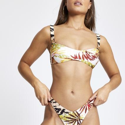 Cream leaf print wrap cami bikini top