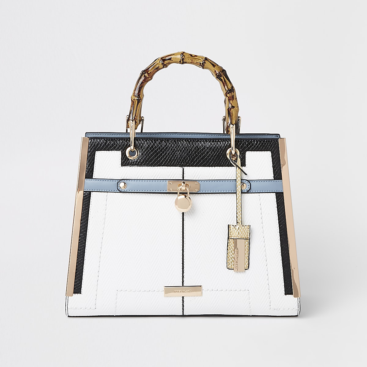 White lock front bamboo handle tote bag