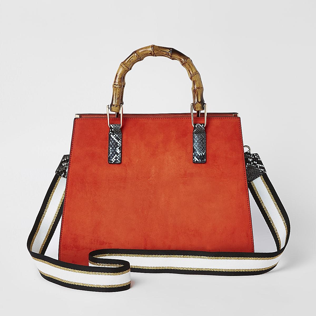 338dd7157 Orange lock front bamboo handle tote bag - Shopper & Tote Bags ...