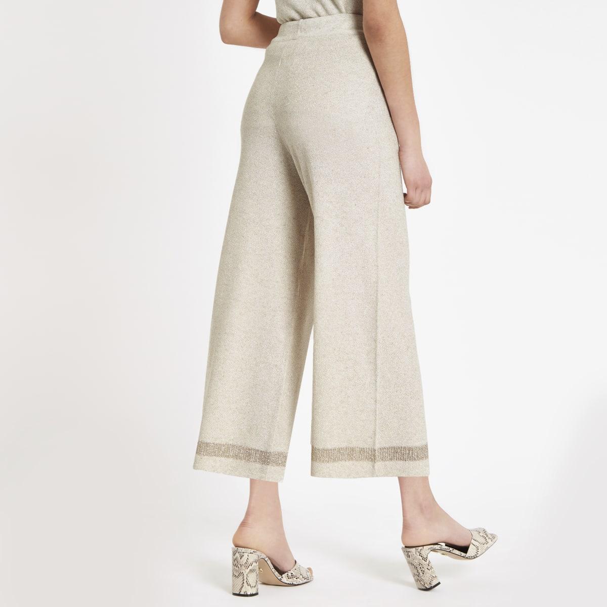 Jupe-culotte large beige à paillettes