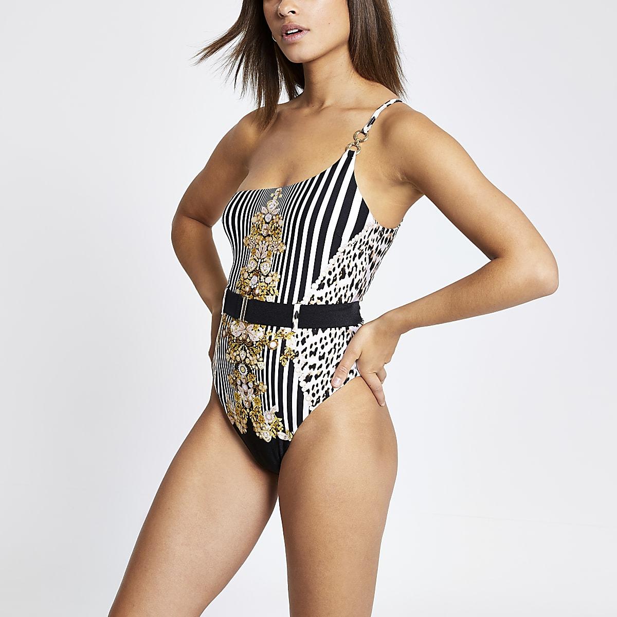 Black printed one shoulder swimsuit