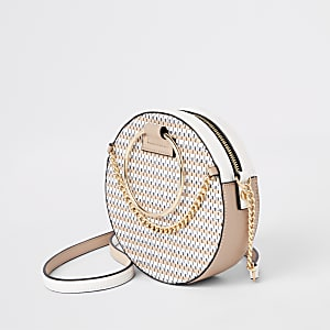 Beige glitter ring handle circle cross body