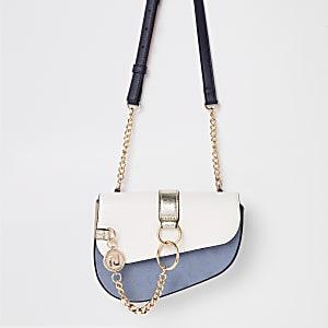 Light blue chain front saddle belt bag