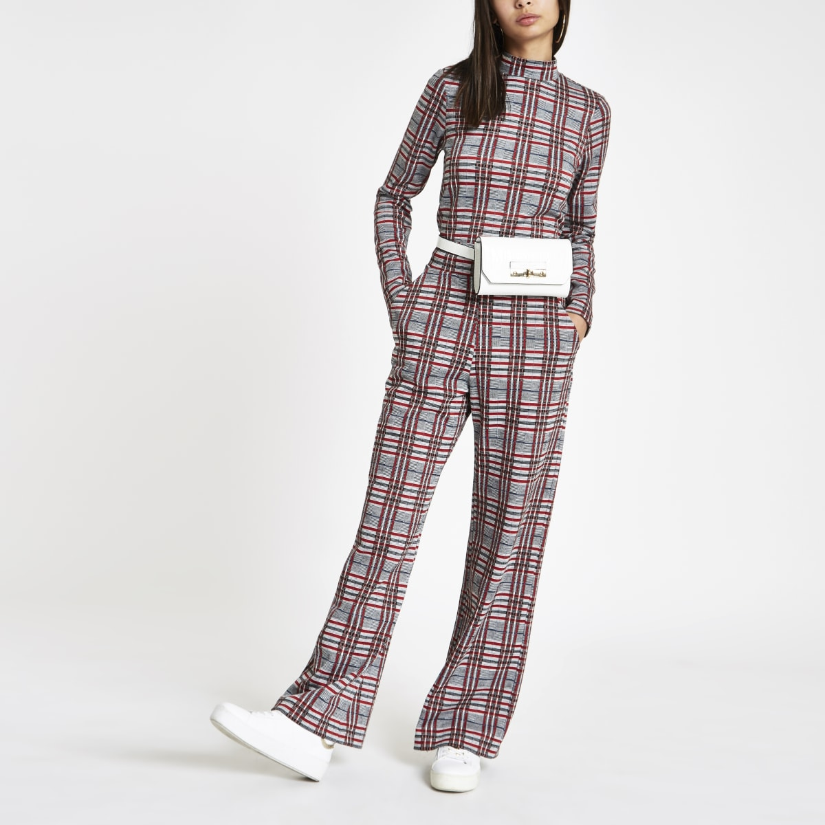 Red check wide leg pants