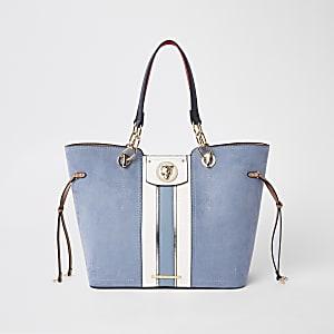 Blaue Tote Bag aus Wildlederimitat