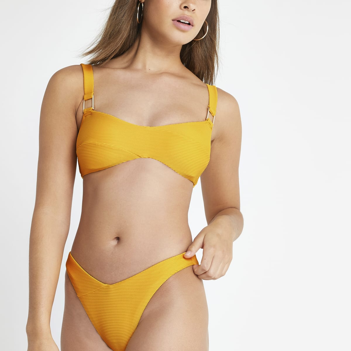 Orange wrap cami bikini top