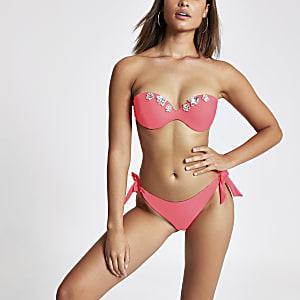 Bikinihose mit seitlicher Schnürung in Neonpink