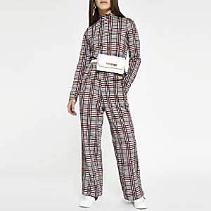 Petite red check wide leg trousers