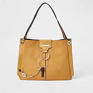 Dark yellow ring front slouch bag