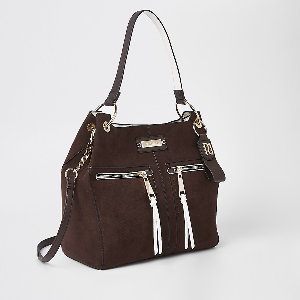 Brown zip front slouch bag