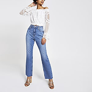 White lace mesh bardot top