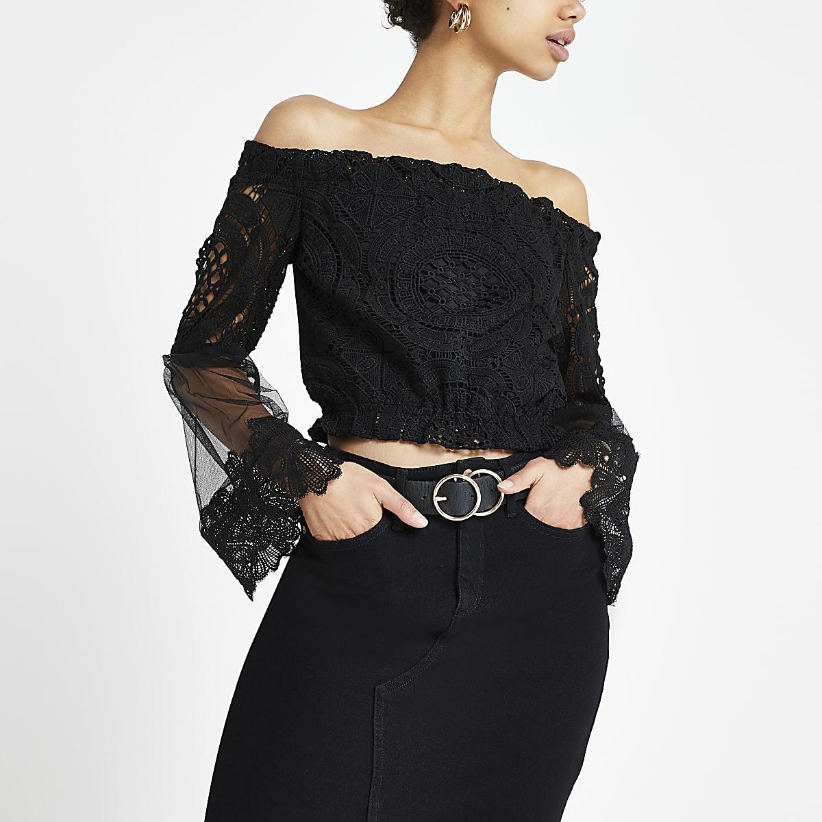 c10141683f0 Black lace mesh bardot top - Bardot / Cold Shoulder Tops - Tops - women