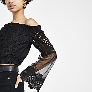 Black lace mesh bardot top