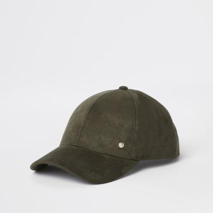 Khaki faux suede baseball cap