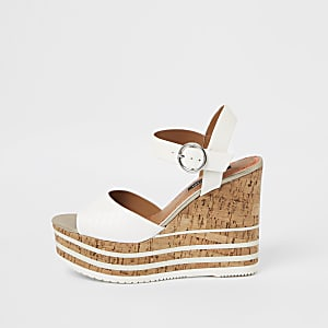White cork platform wedges