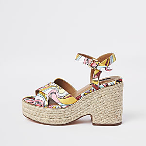 Pink print espadrille platform heels