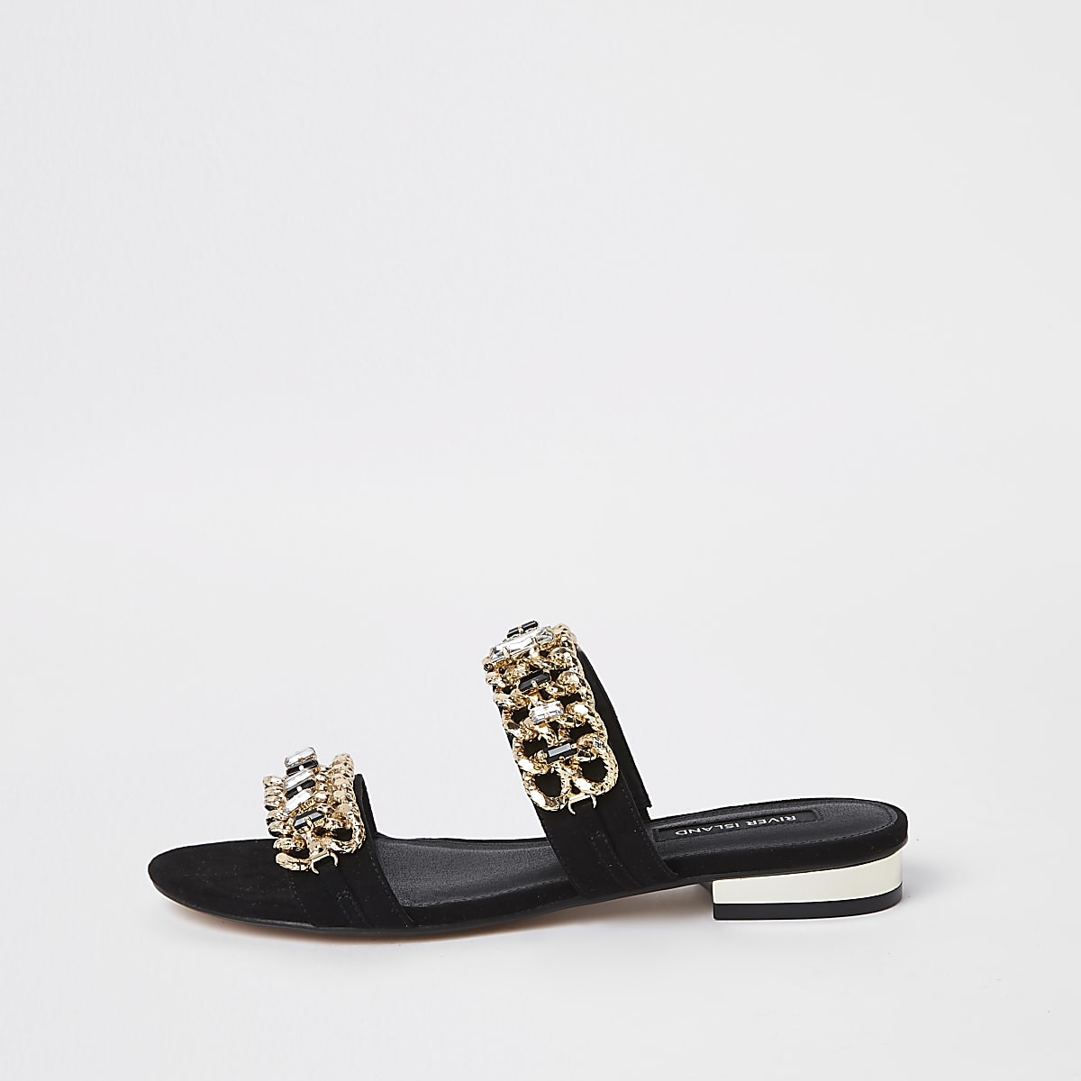 Black gold chain embellished mules