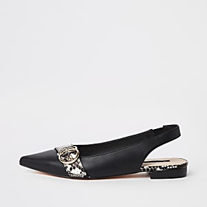 Black pointed toe slingback loafers