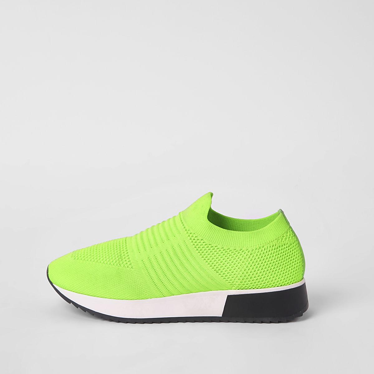 Baskets de course en maille vert vif