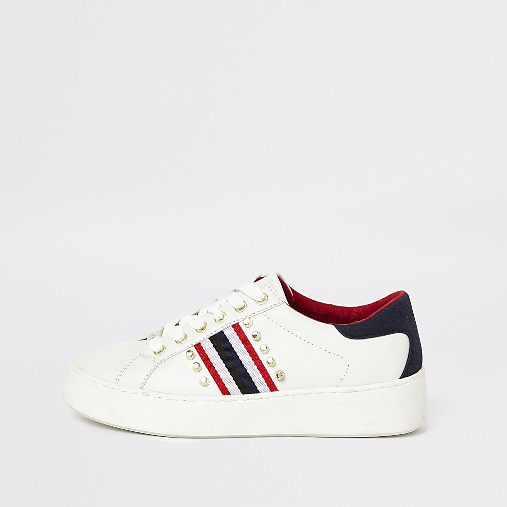 White stud embellished lace-up trainers