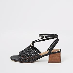 Black weave block heel sandals
