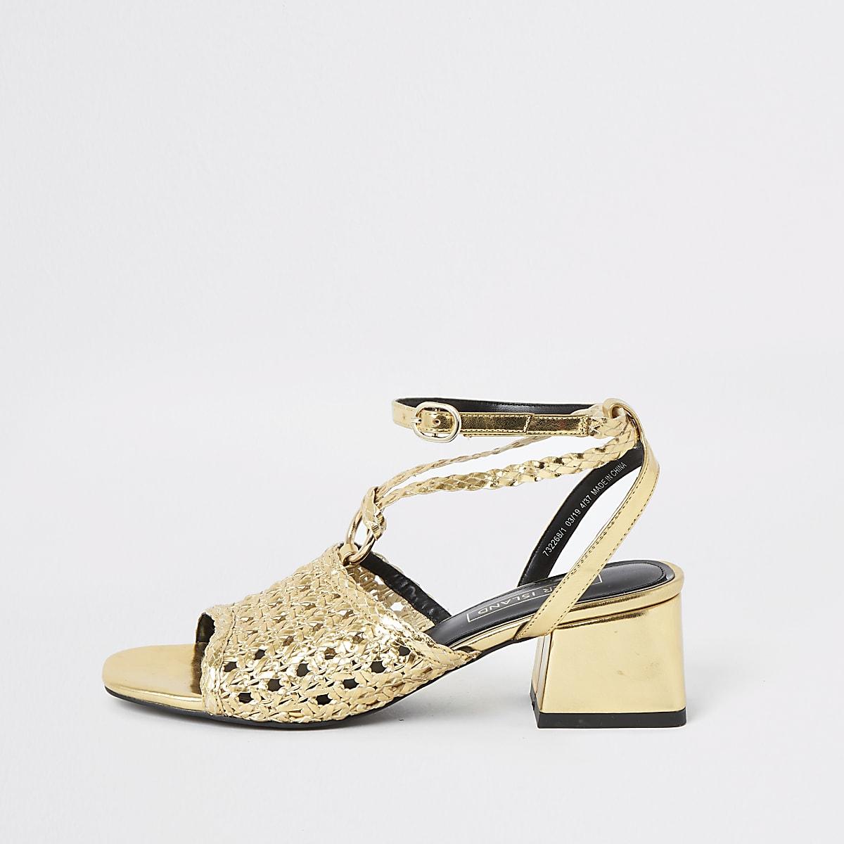 Gold weave block heel sandals