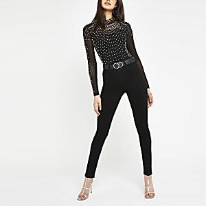 Zwarte hoogsluitende diamanté bodysuit