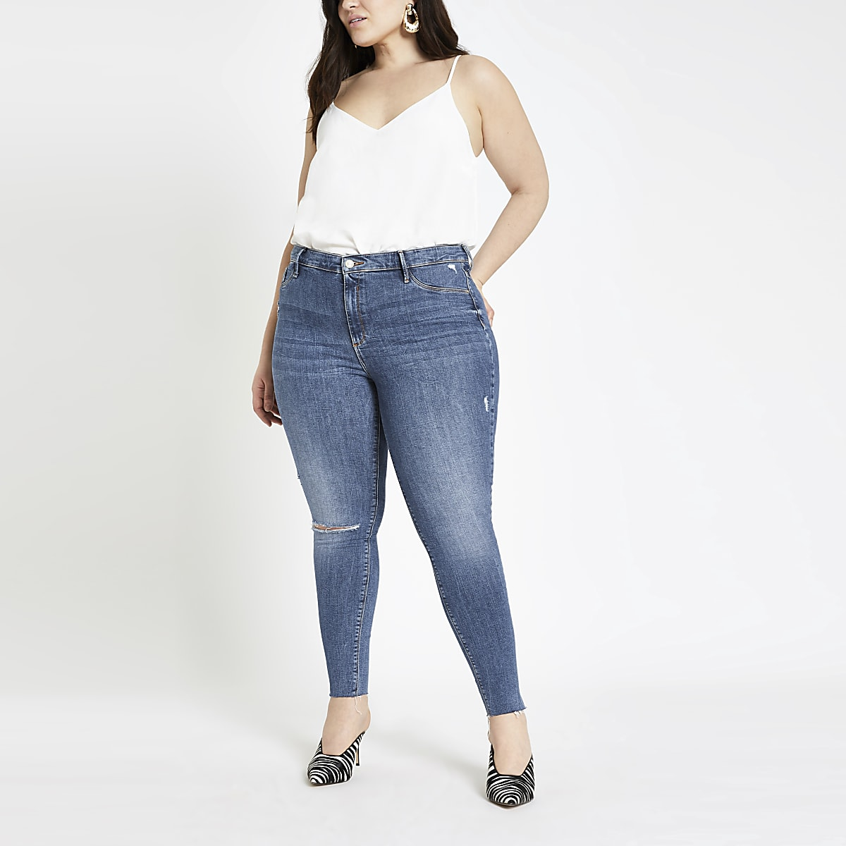 Plus mid blue Molly jeggings