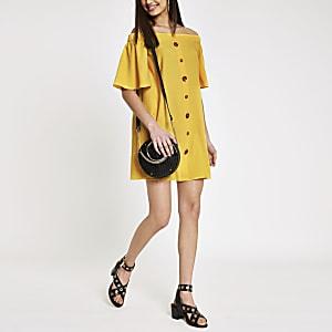 Yellow bardot button front swing dress