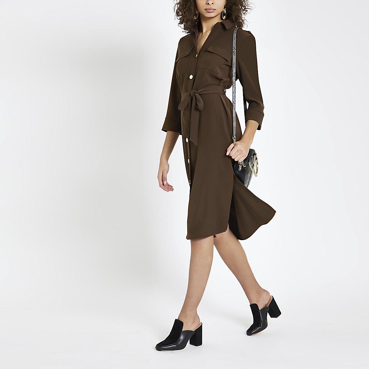 Brown tie waist shirt dress