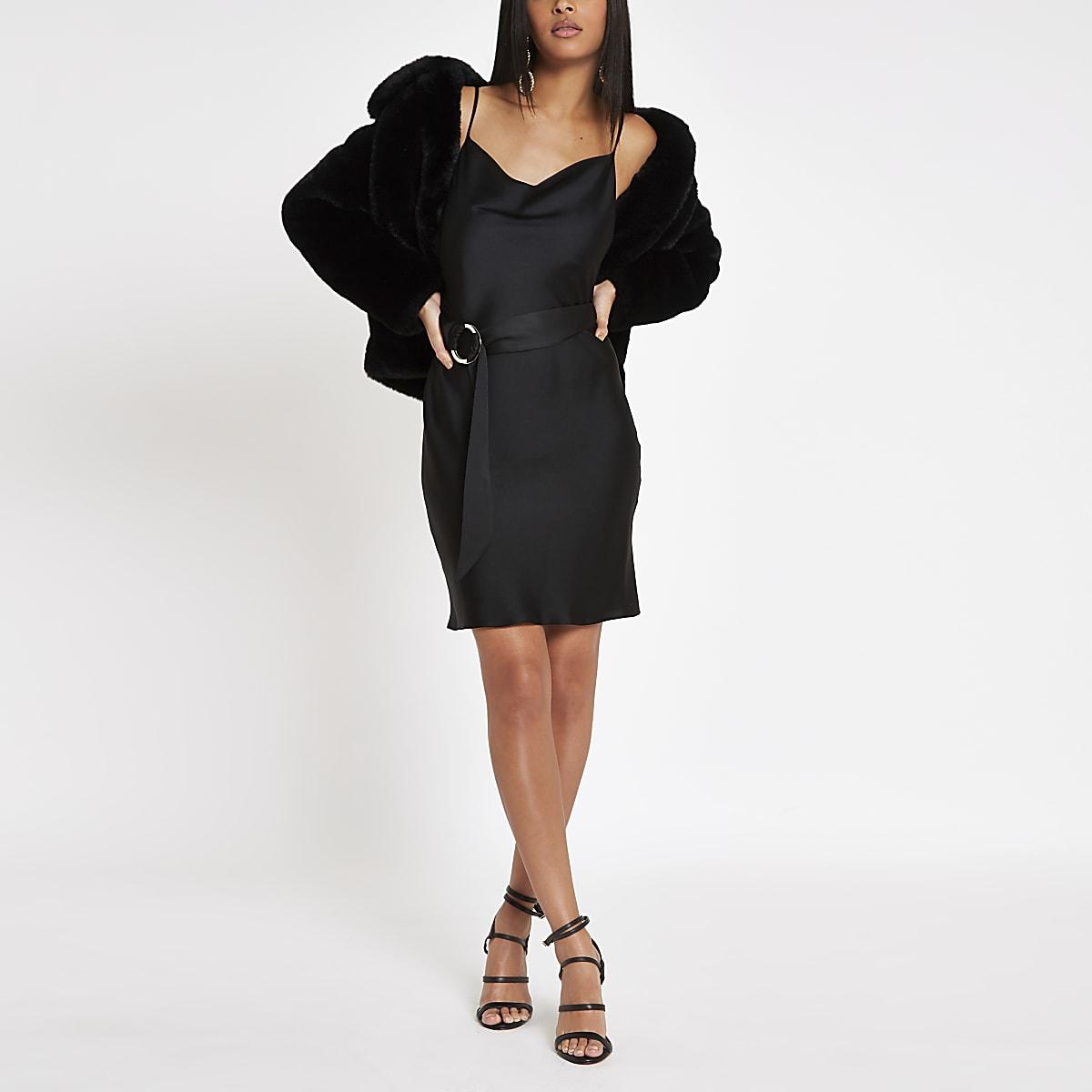 Black cowl neck slip mini dress