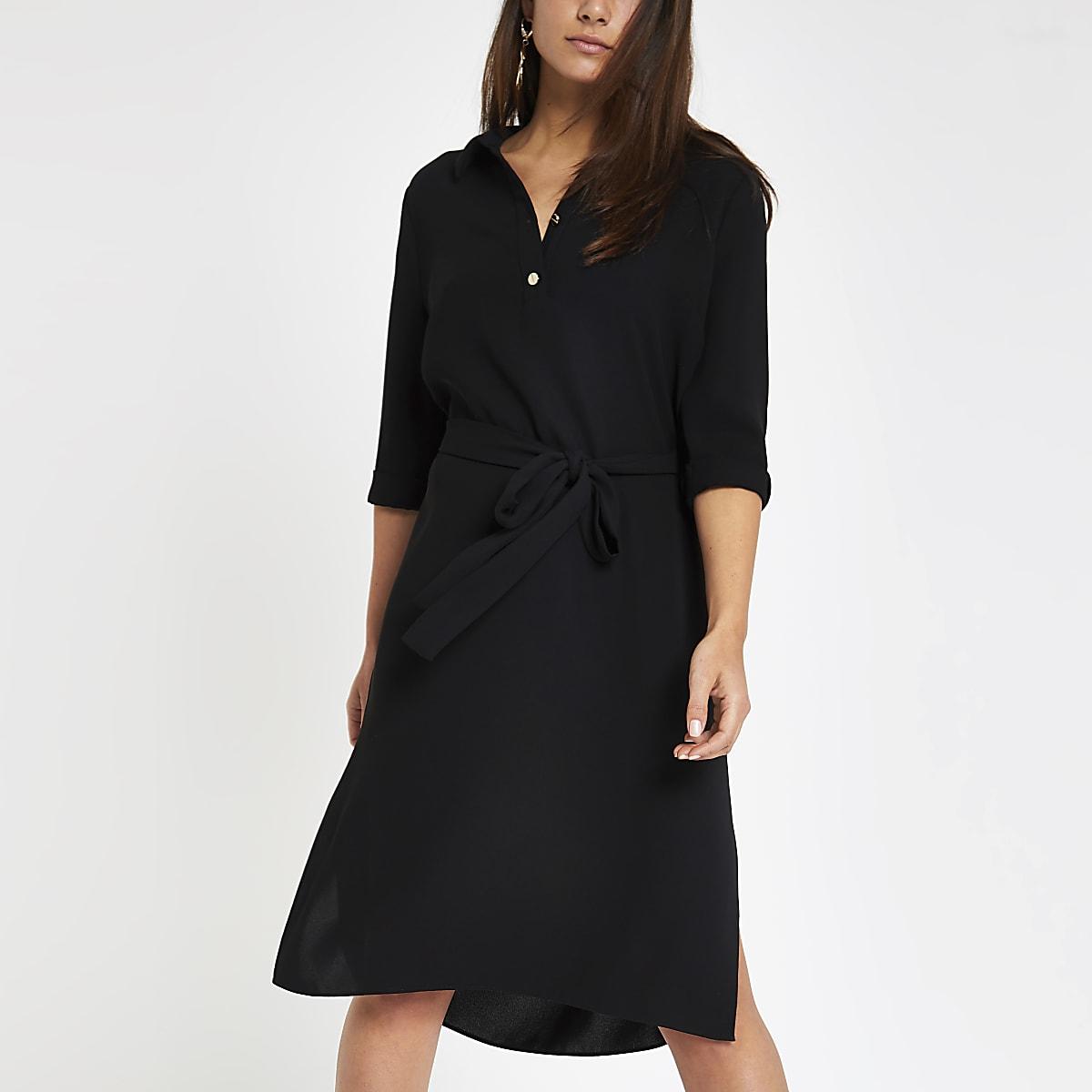 Petite black belted shirt dress