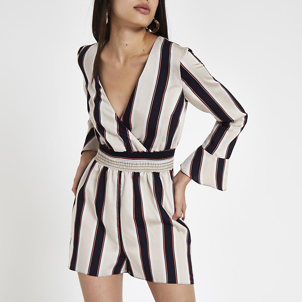 Black stripe wrap long sleeve romper