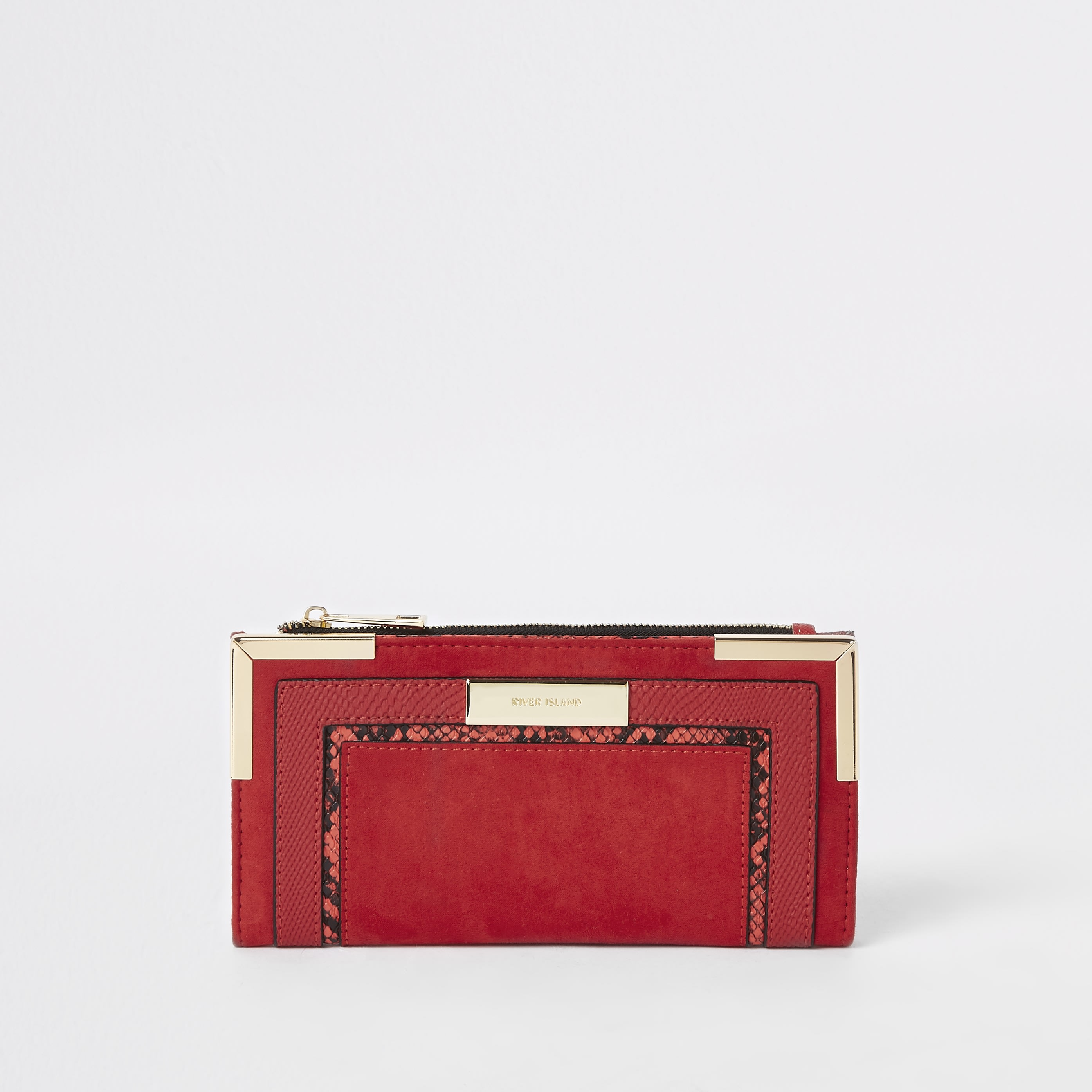 RIVER ISLAND | Womens Red snake embossed fold out purse | Goxip