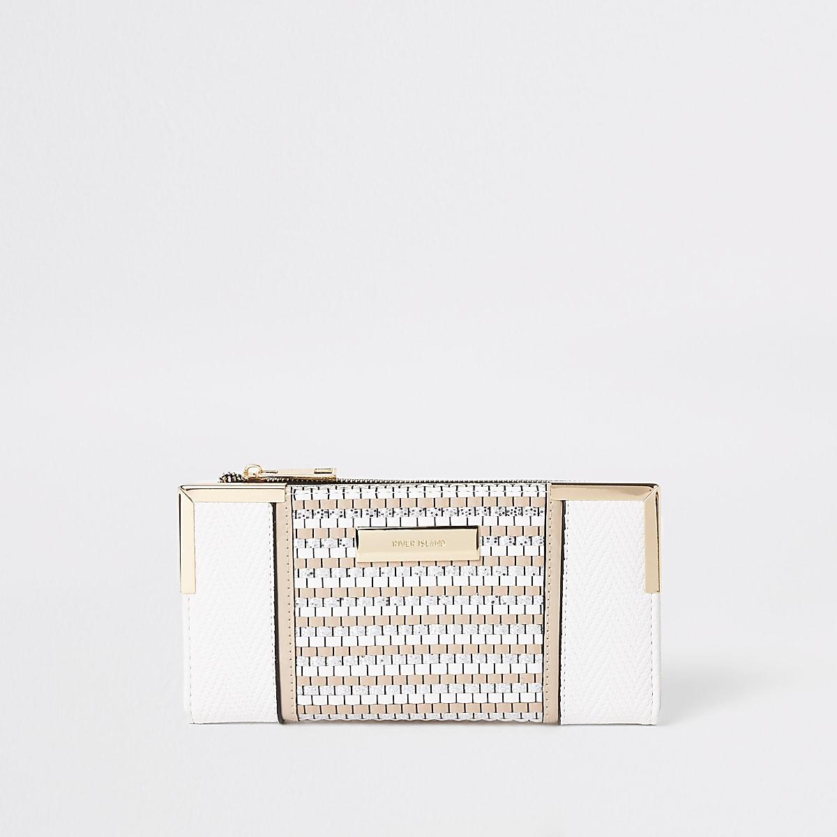 White glitter woven fold out purse