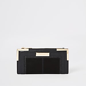Black foldout metal corner purse