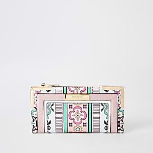 Blue mixed print fold out purse