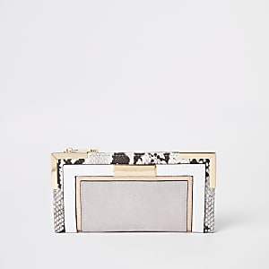 Grijze uitvouwbare portemonnee met slangenprint