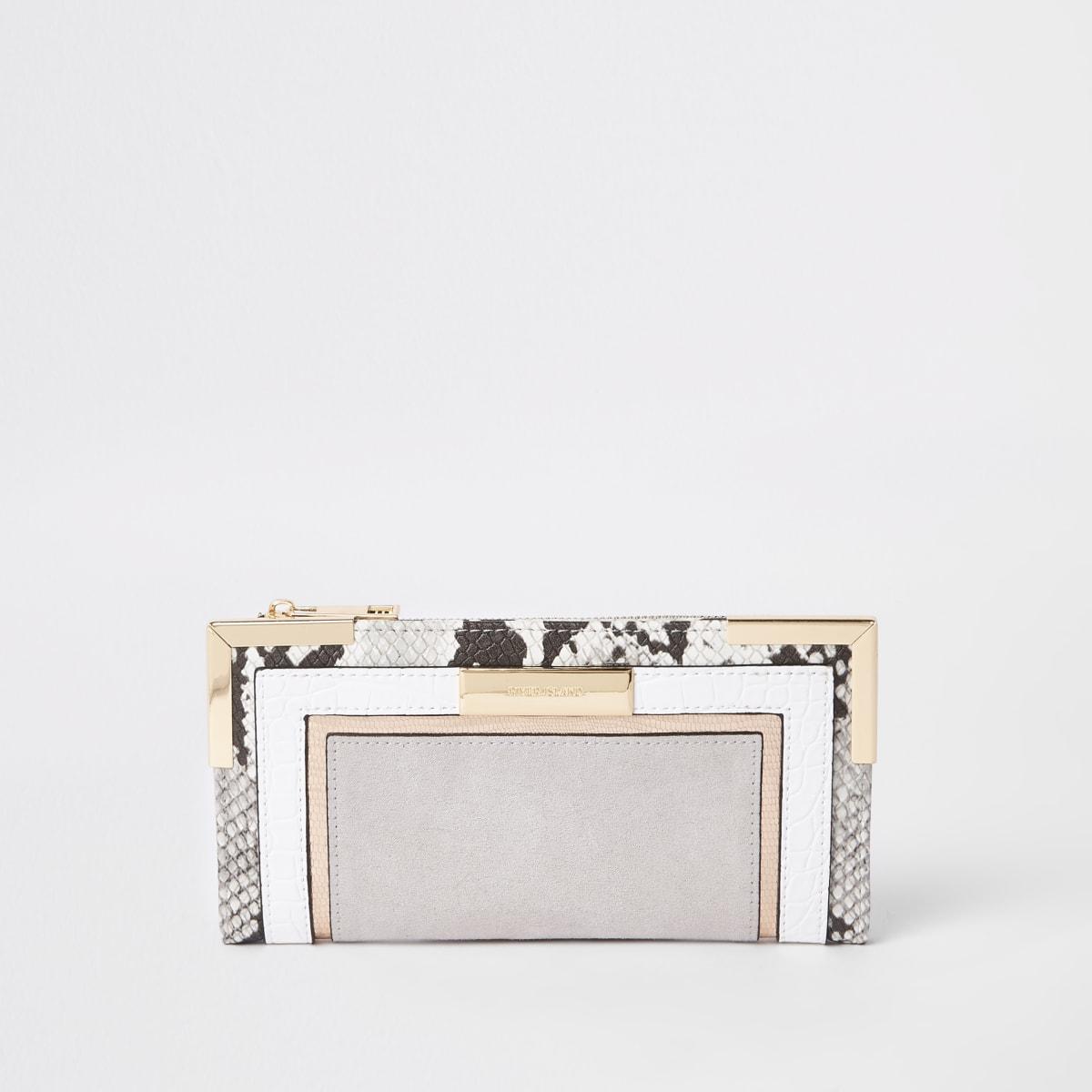 Grey snake print fold out purse