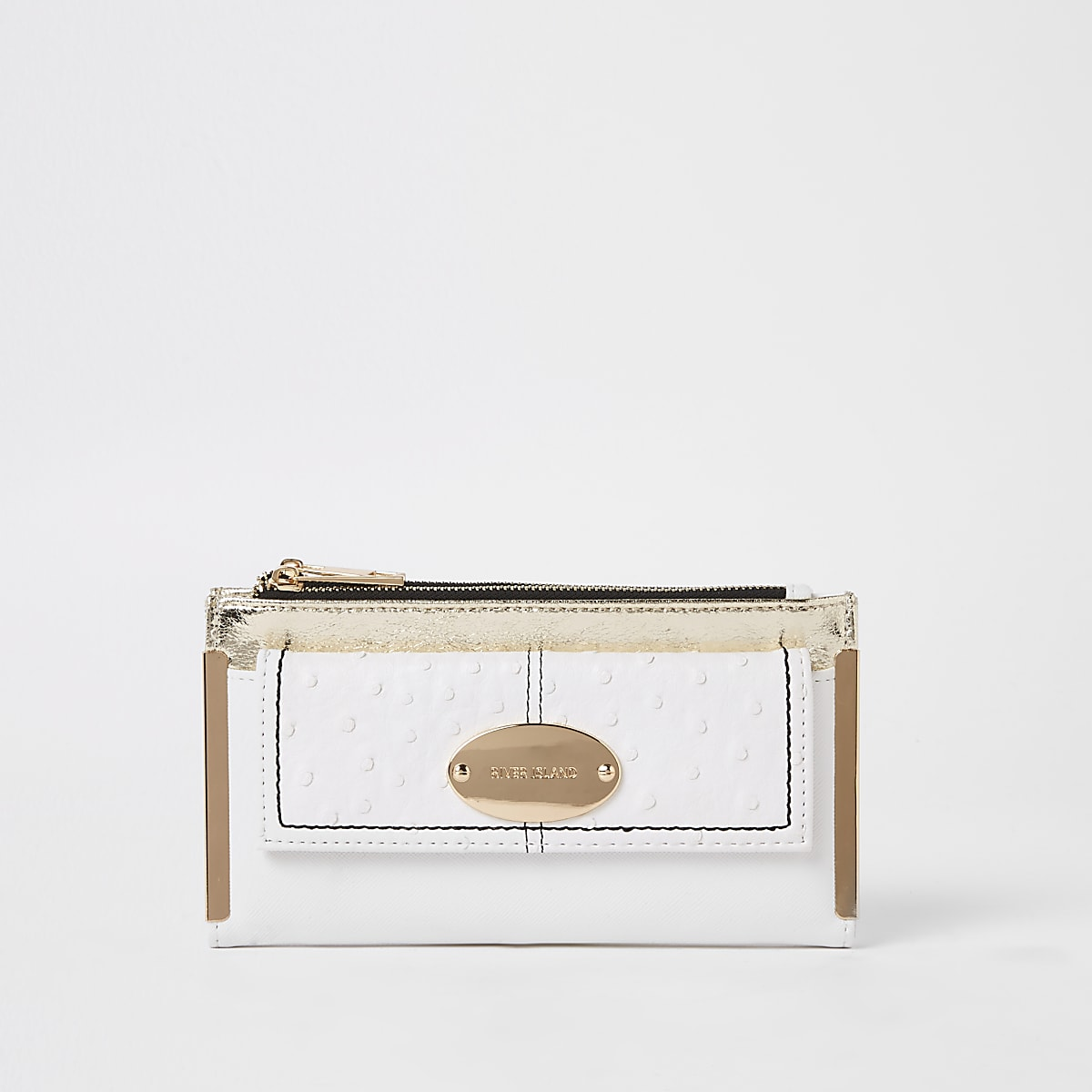 White oval RI branding fold out purse